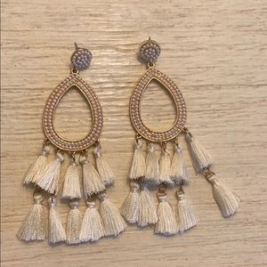 Pearl and fringe statement earrings
